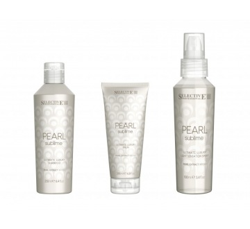 PEARL SUBLIME ULTIMATE LUXURY KIT (šampon + balzám + sprej) dárkové balení PEARL SUBLIME ULTIMATE LUXURY SHAMPOO (250ml), PEARL SUBLIME ULTIMATE LUXURY BALM (200ml) a PEARL SUBLIME ULTIMATE LUXURY LIGHT SENSATION SPRAY (100ml)